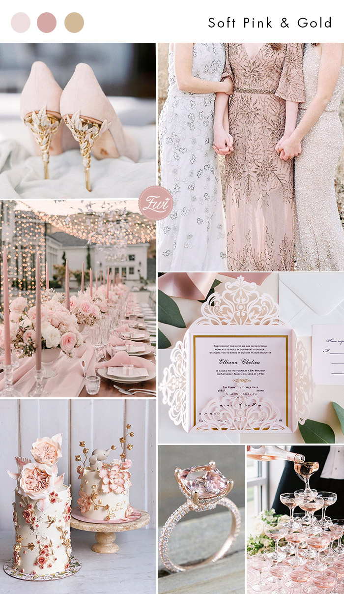 sweet romantic soft pink and gold wedding colors