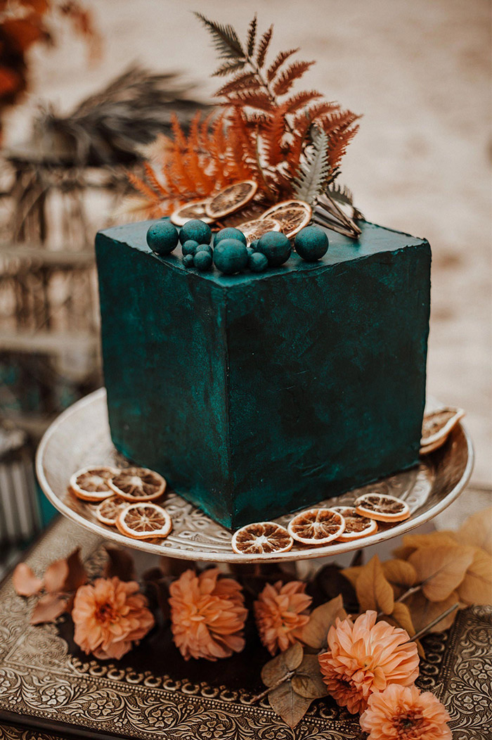 teal and rust orange color inspired minimalist fall wedding cake