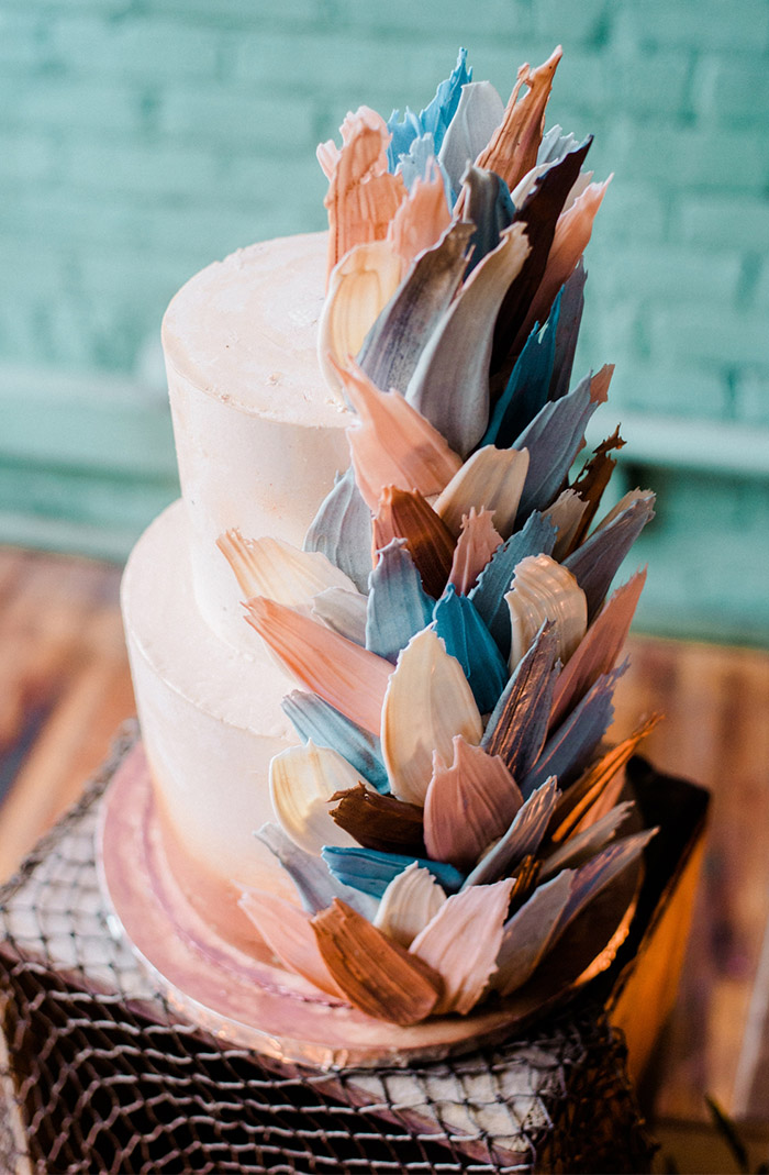 unique modern colorful brushstroke wedding cakes