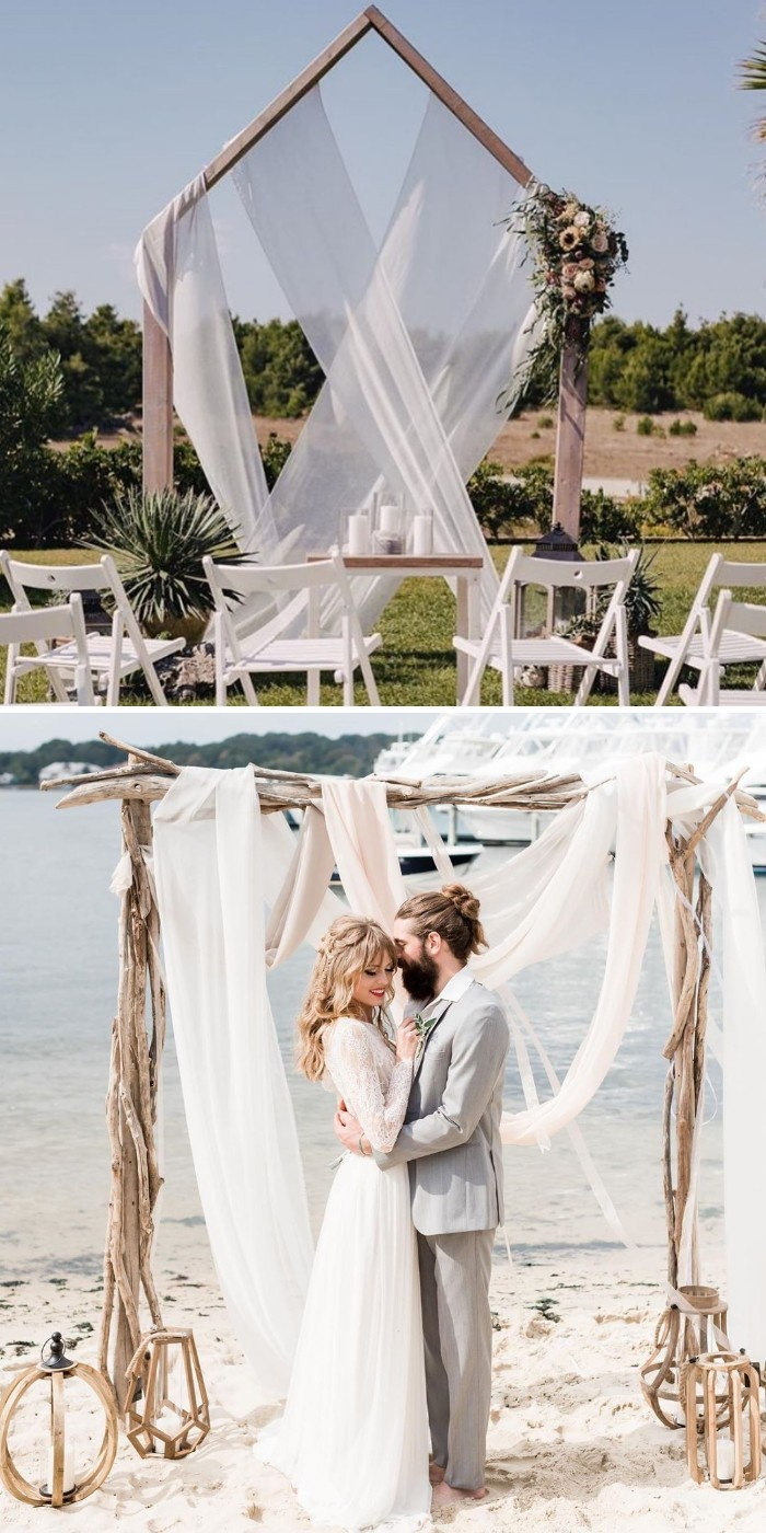 unique outdoor wedding arch decoration ideas with white soft voile
