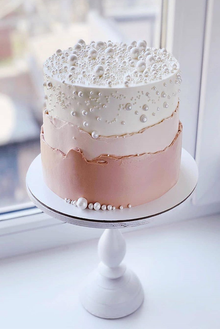 white pearl and blush elegant small wedding cakes