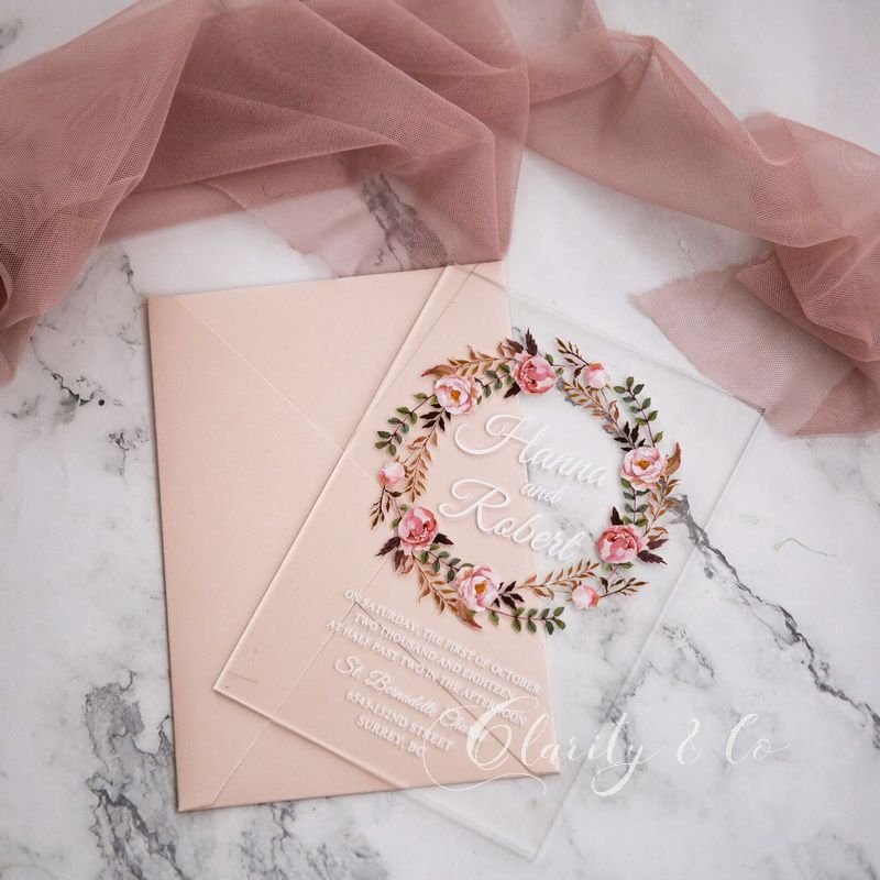 Rustic Dusty Rose Floral Acrylic Wedding Invitations CAX030