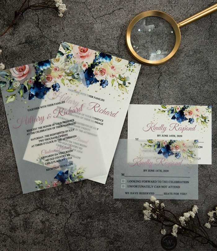 blue and pink flower wedding invitation card