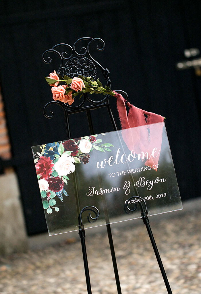 boho chic burgundy flower acrylic wedding welcome signs