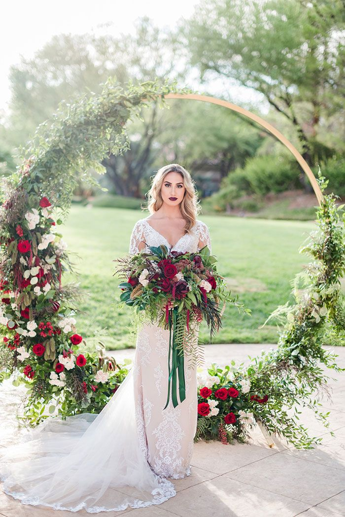calssic red and green winter christmas wedding arch