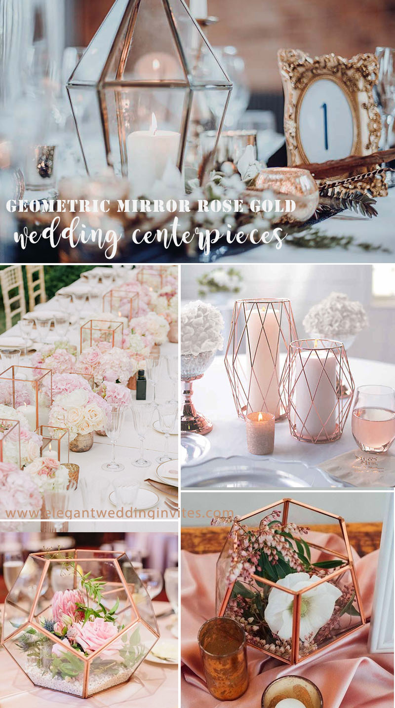 chic geometric rose gold wedding centerpieces ideas with candle & flower
