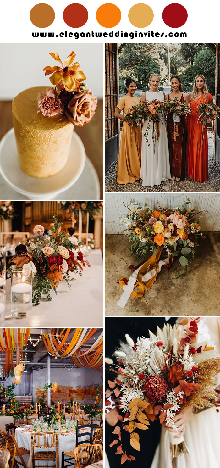 colorful shades of yellow and rust fall wedding colors with hint of red