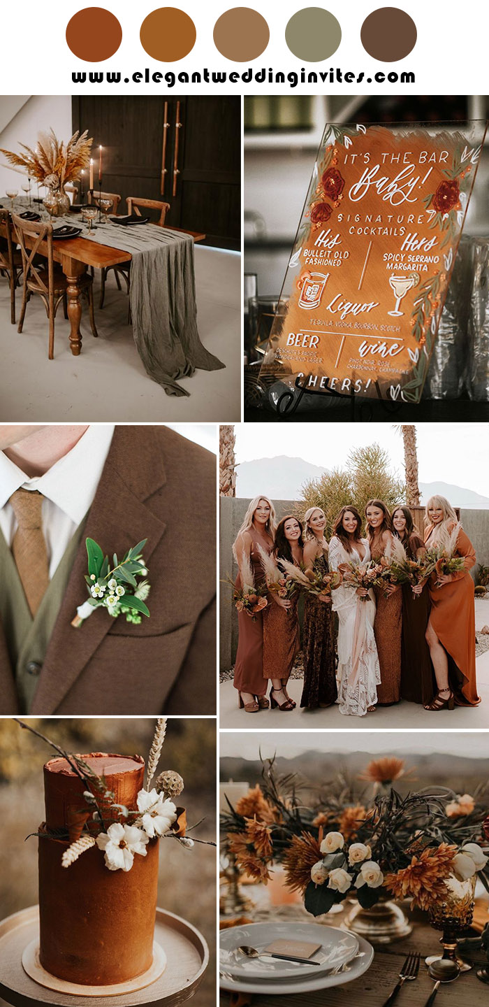 copper and rust modern vintage fall and winter wedding inspiration