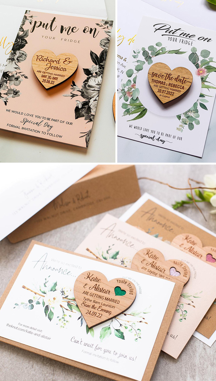 Wedding Invitation Save The Date Magnets Save the date Personalized Save The Date Wedding Cards Wood Save The Date Magnet with Cards