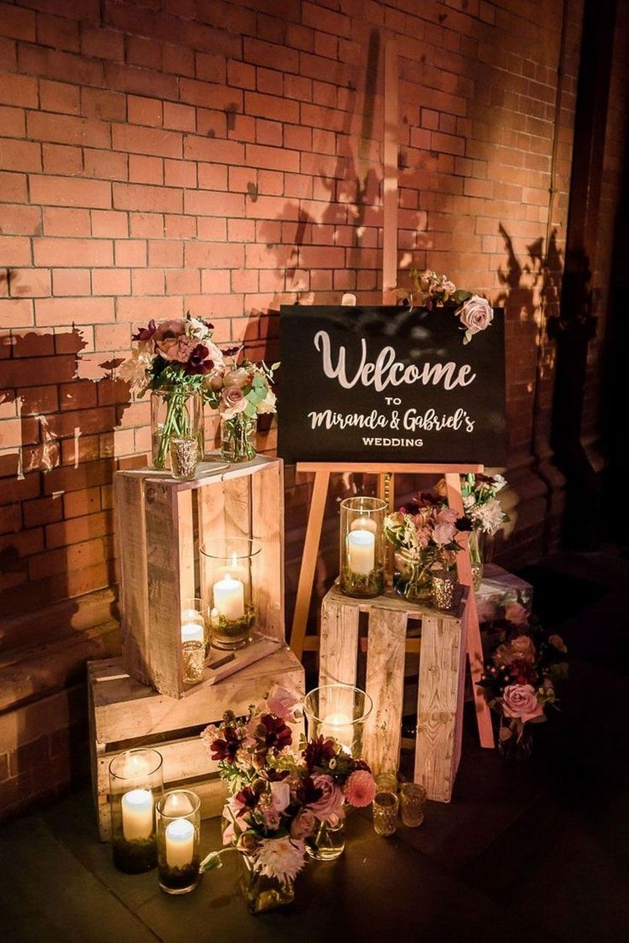 diy rustic barn wedding decor with wood crate and candle lights