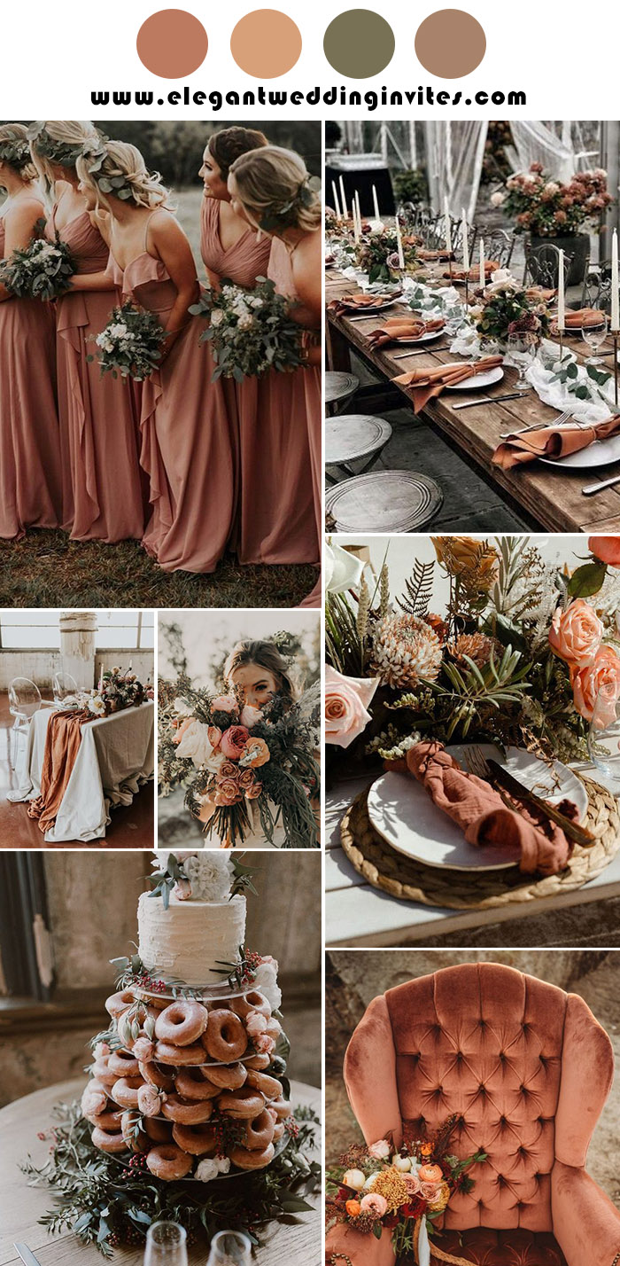 dusty orange and rust greenery rustic wedding color palette