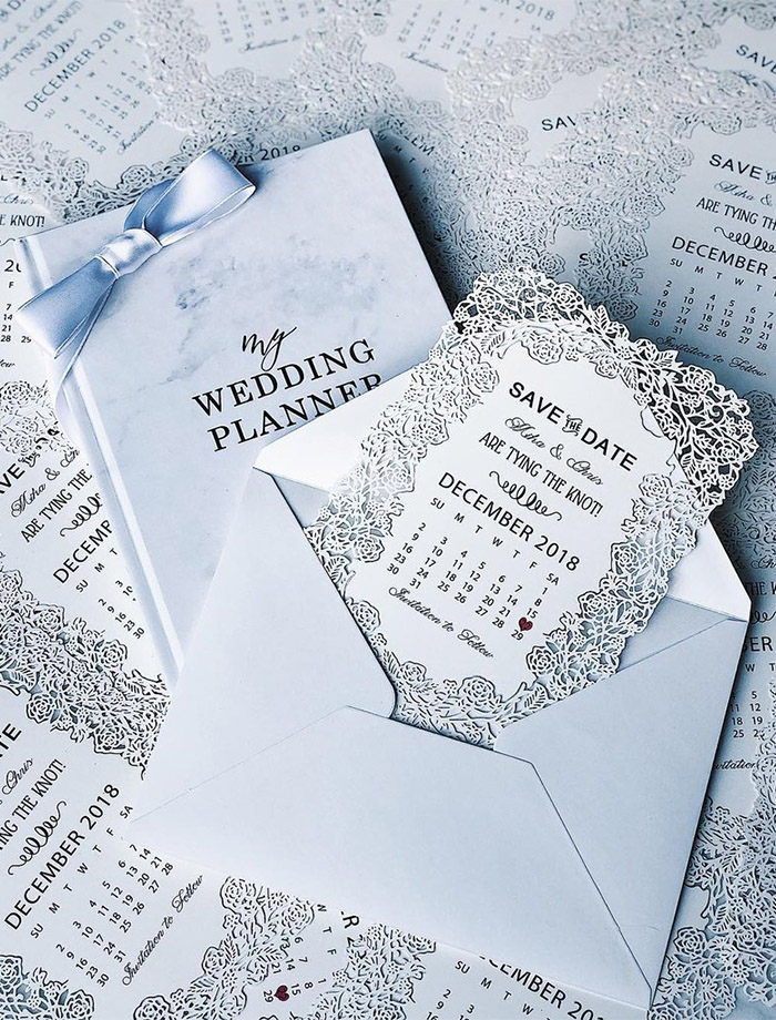 elegant and modern laser cut save the date