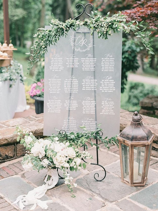 frosted calligraphy printed acrylic wedding sign with green garland
