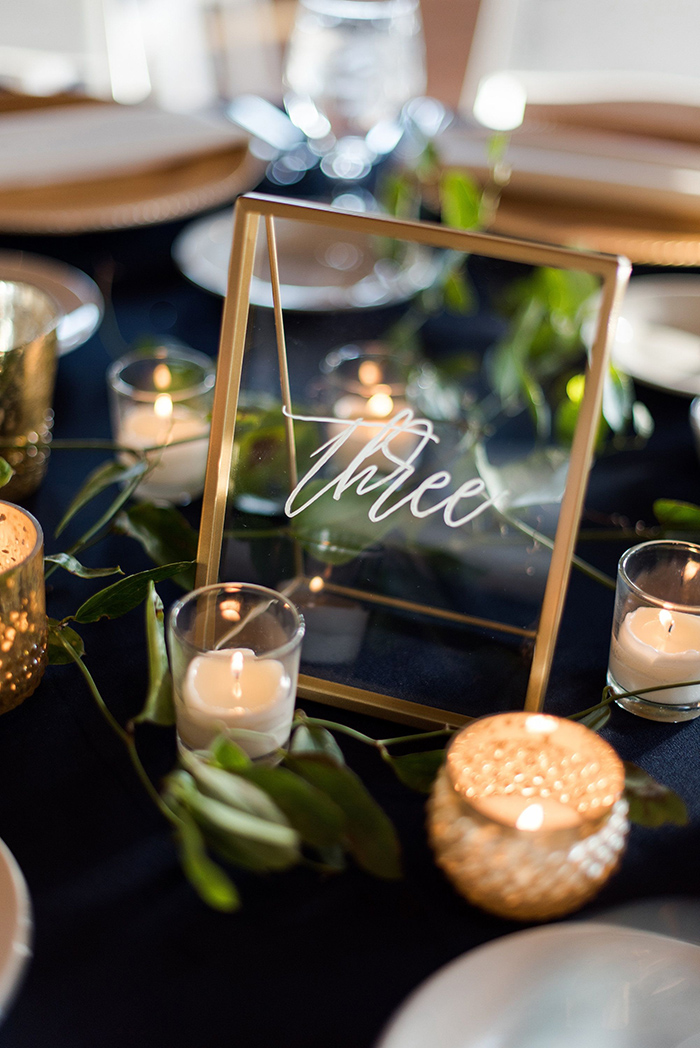 hand lettered clear scrylic wedding table number signs
