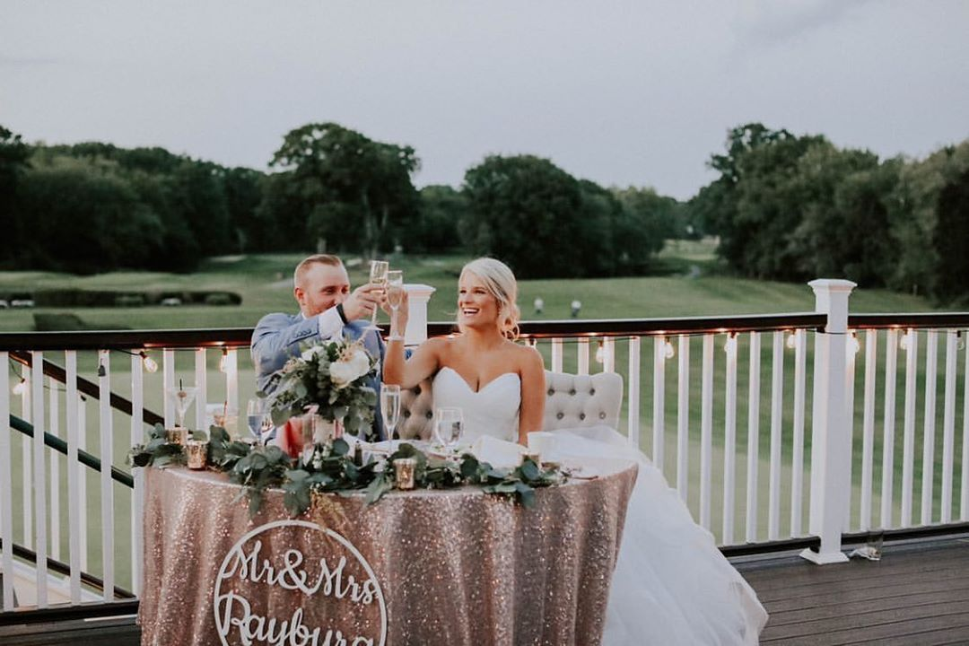 loving rose gold sequin tablecloth loveseat look