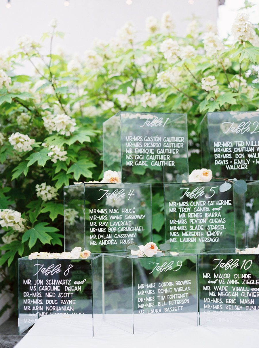 lucite and acrylic wedding seating chart ideas