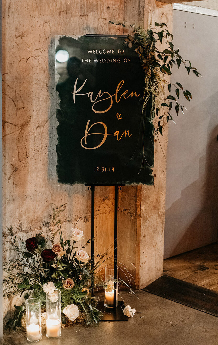 moody hunter green painted acrylic welcome wedding signs