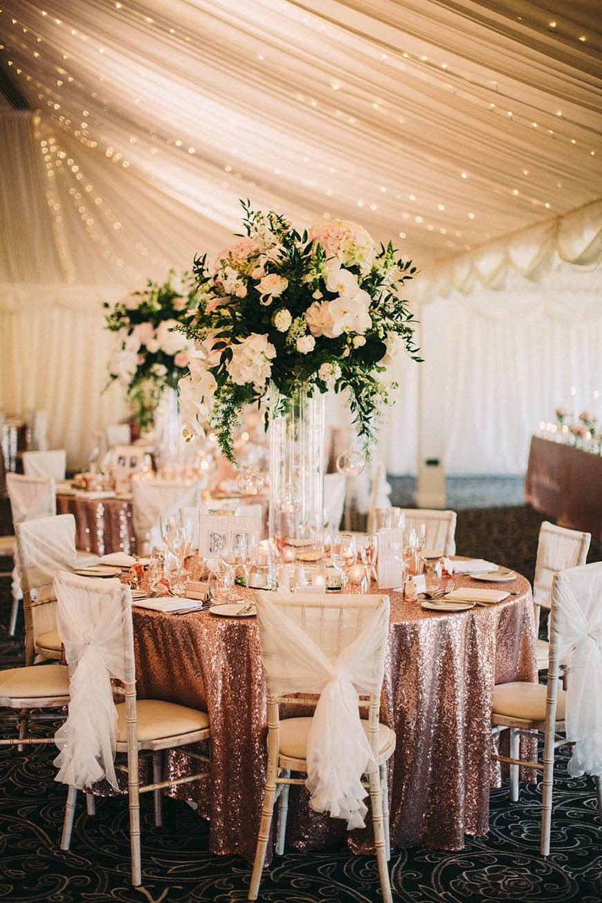 most beautiful rose gold glitter tablecloth wedding theme with fabric roof