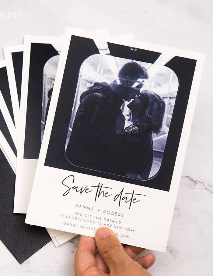photo of the couple save the date card