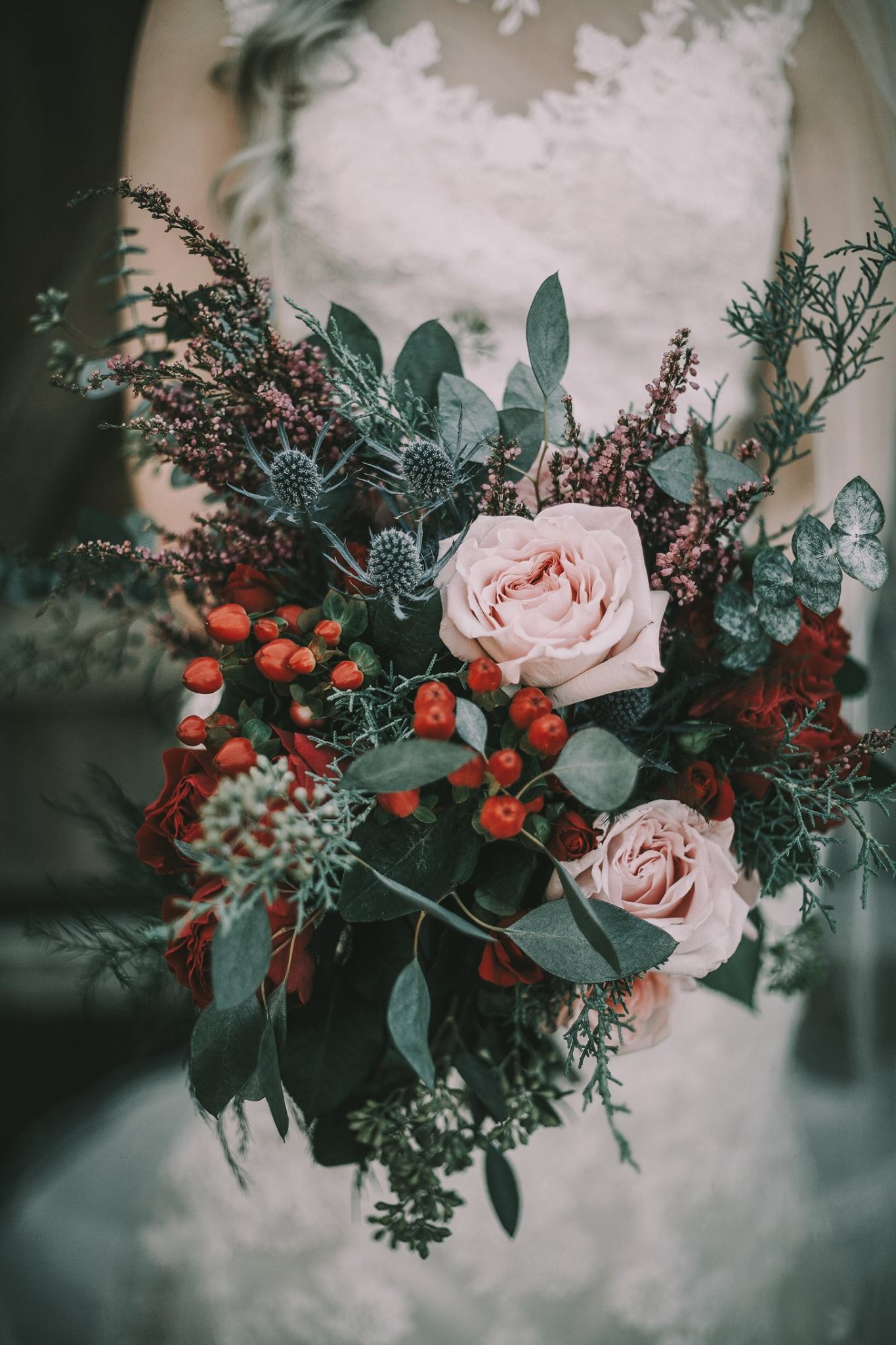 red blush and greenery winter wedding bouquets