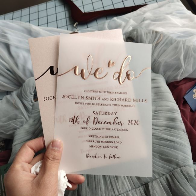 rose gold foil we do calligraphy wedding invitation on vellum paper EWFI030