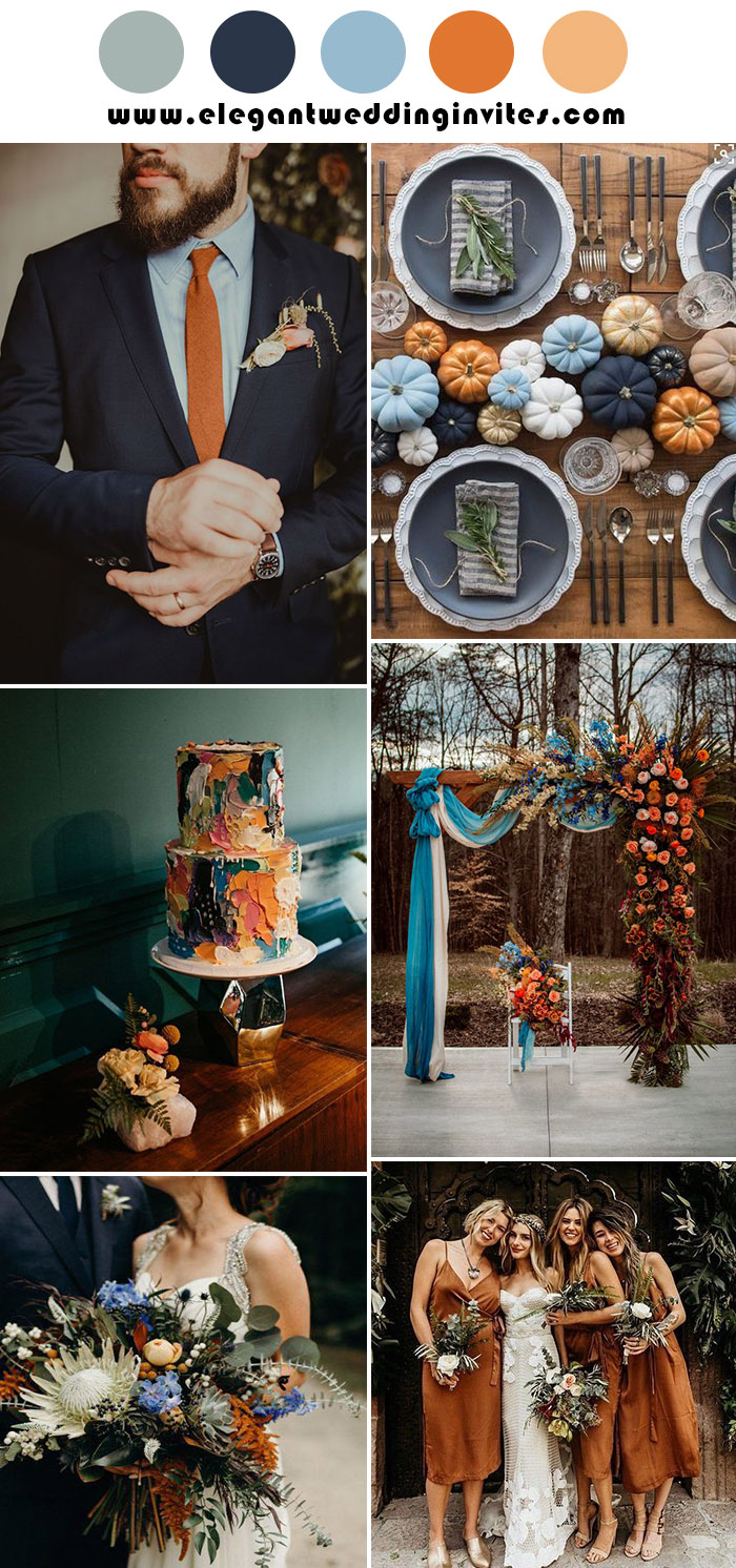 rust teal and blue fall rustic wedding colors