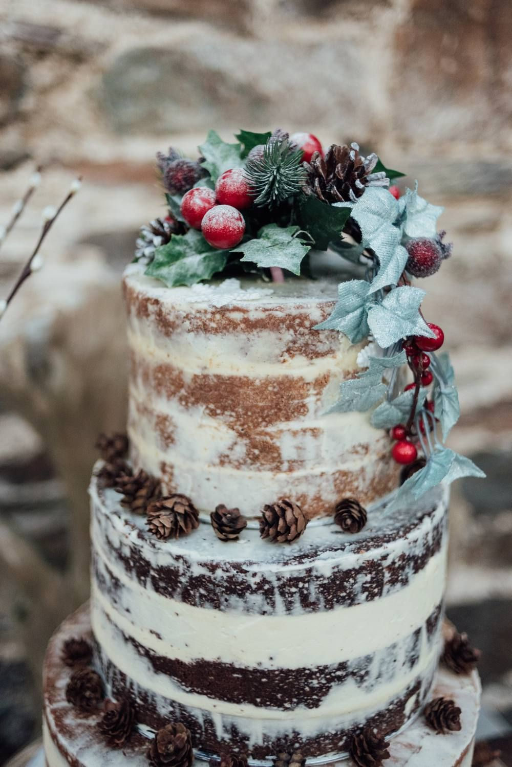 rustic frosted winter festival wedding cakes
