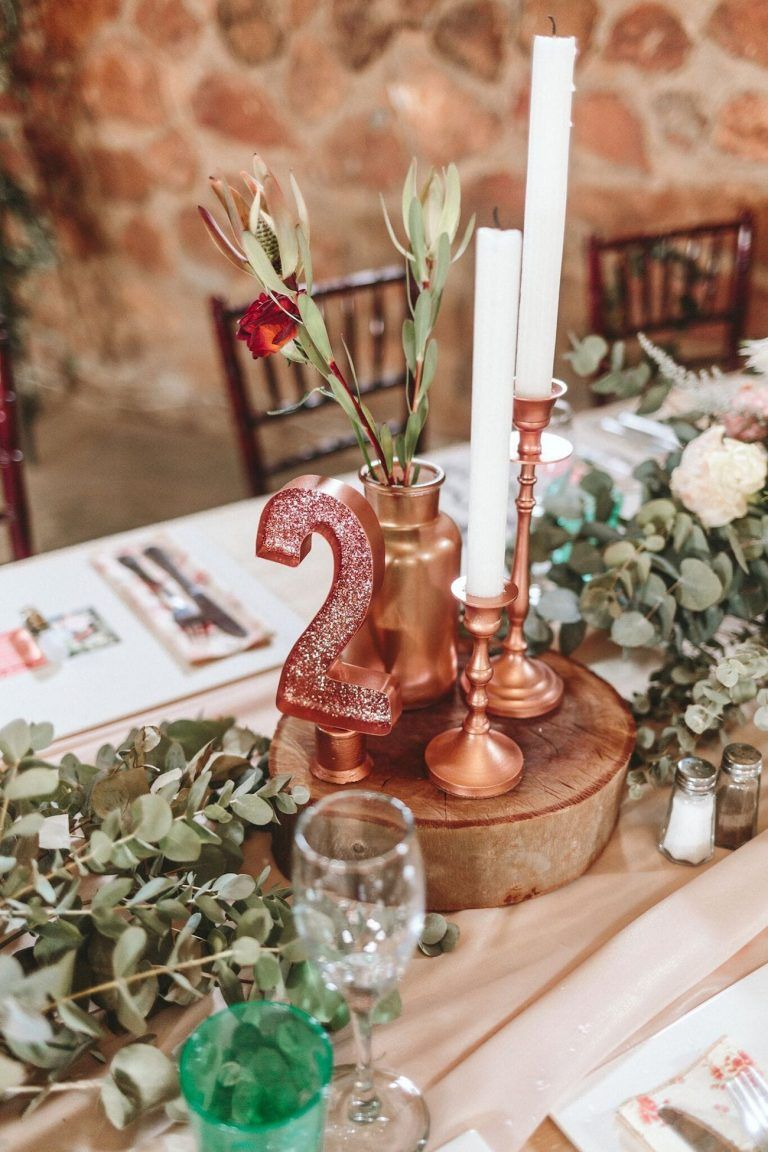 rustic tall rose gold wedding centerpieces with candles