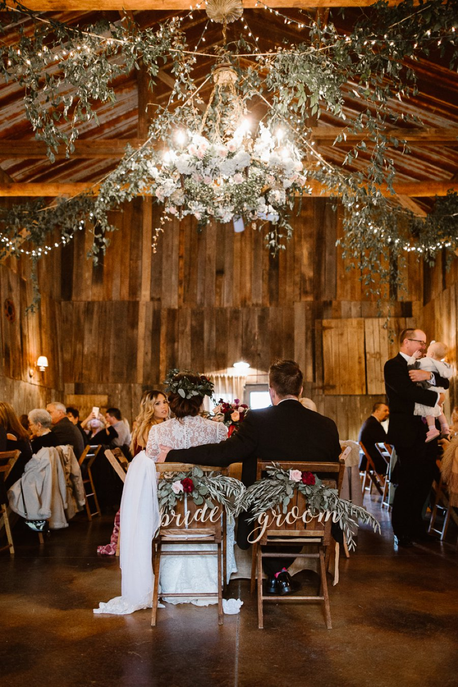rustic wedding bride and groom chair signs