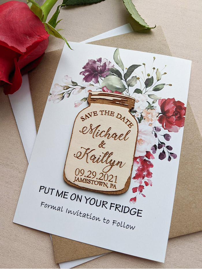 save the date magnet with paper card
