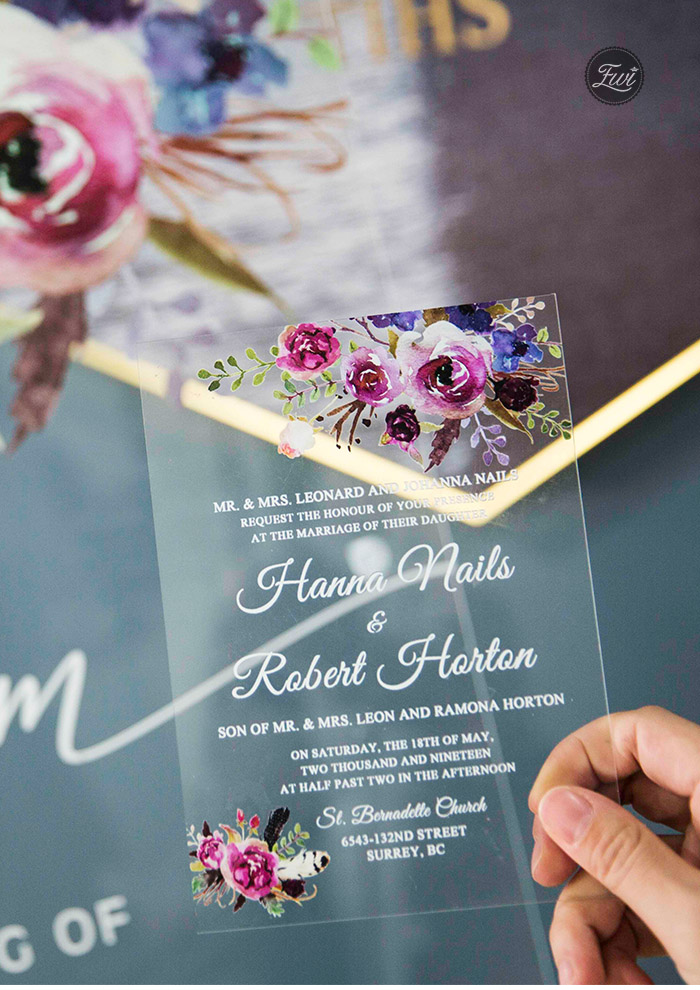 shades of purple floral pattern clear acrylic wedding invitations