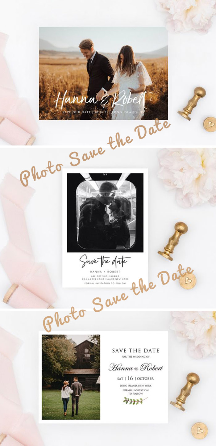 simple and classic photo save the date cards