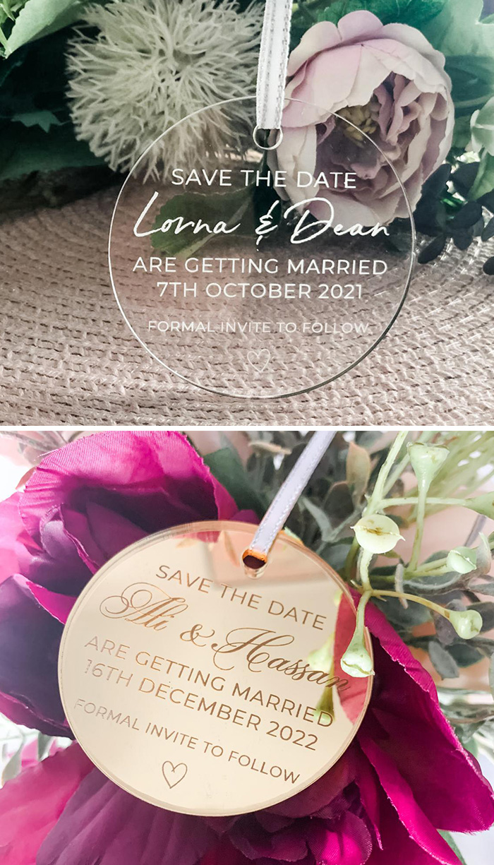 small circle acrylic save the date