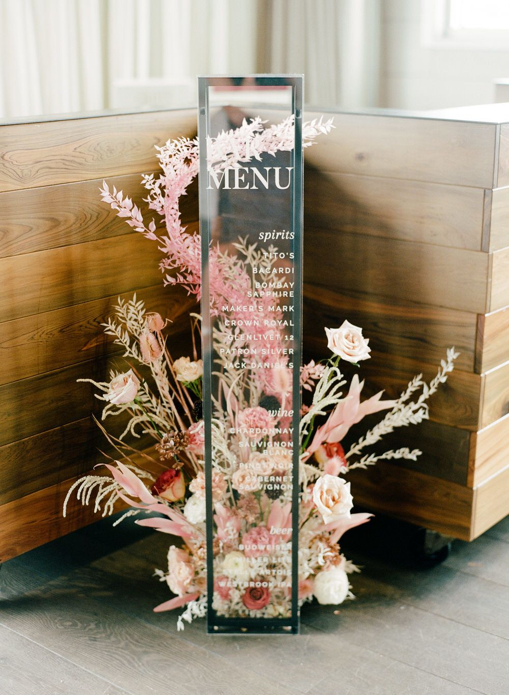 stunning contemporary floral and acrylic wedding menu sign ideas