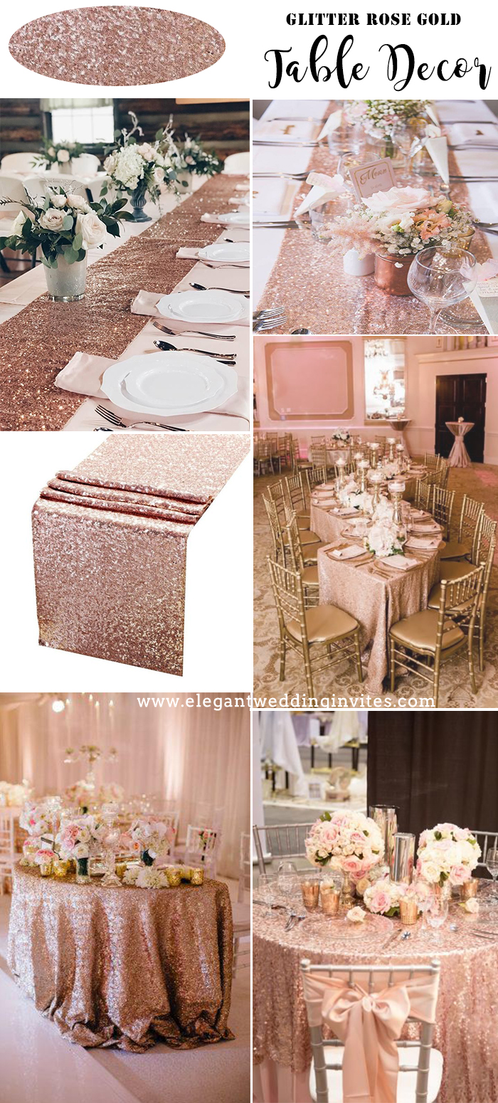 stunning rose gold glitter table cloth for wedding decorations ideas