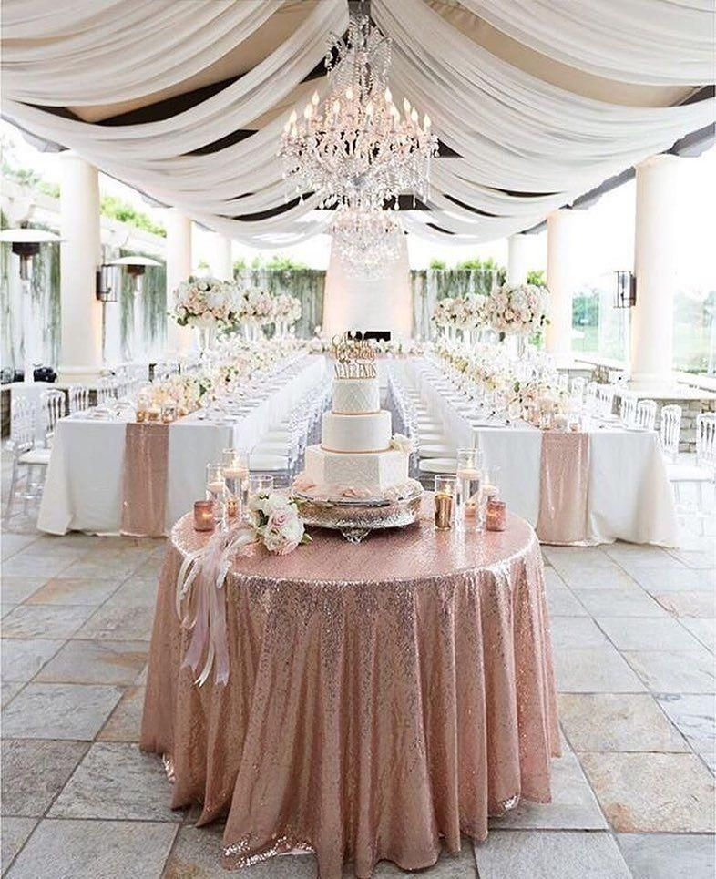 unique glitter rose gold table with fabric roof wedding decorations ideas