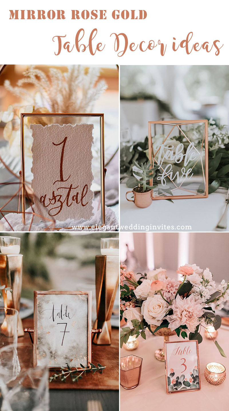 unique mirror rose gold rectengle table cards for wedding reception ideas