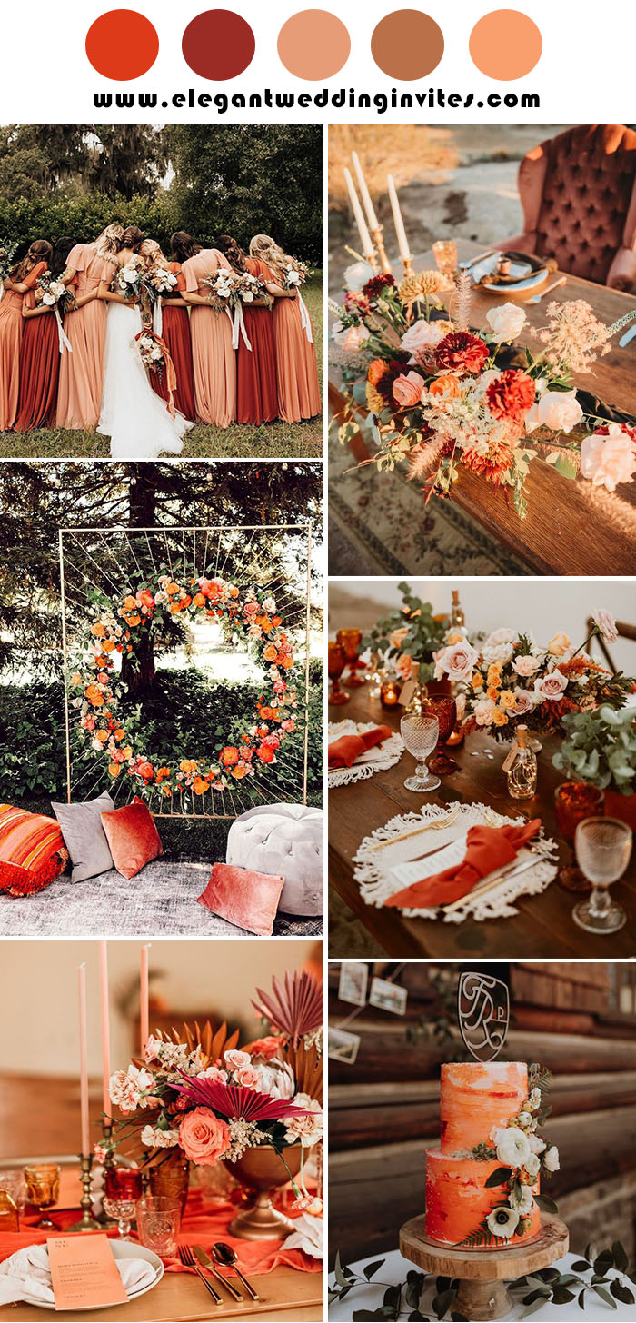 vibrant rust red and pink fall weddin color theme