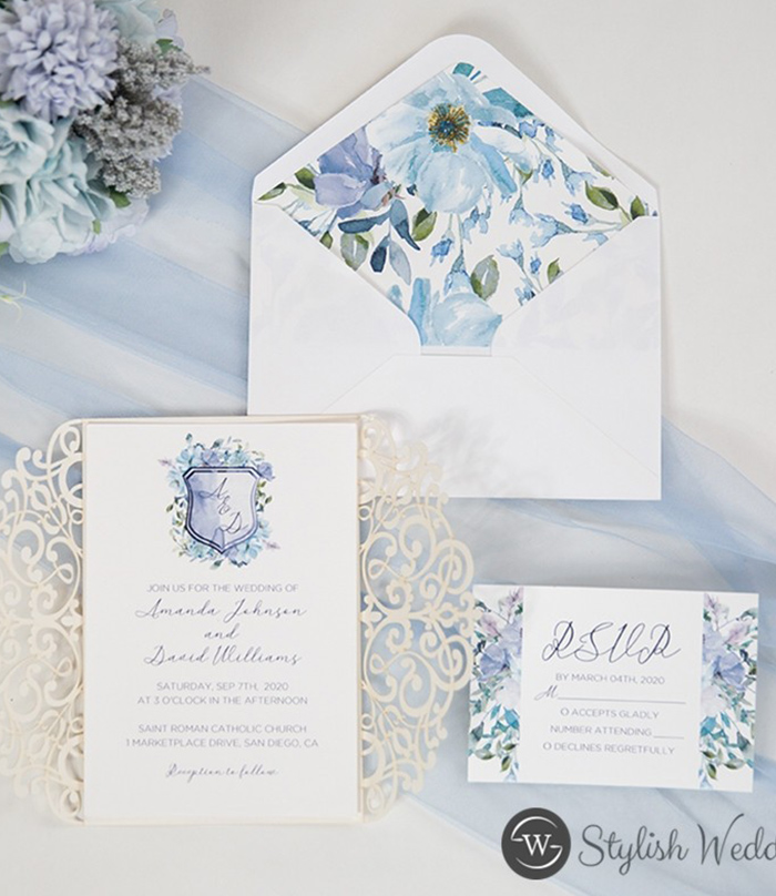 watercolor blue and ivory wedding invitations