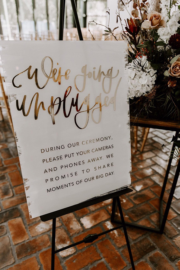 acrylic unplugged ceremony sign with foil printing