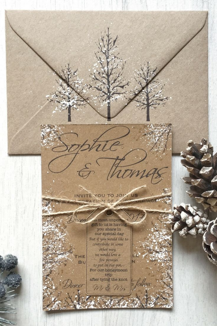 affordable rustic wooden winter wedding invitation card