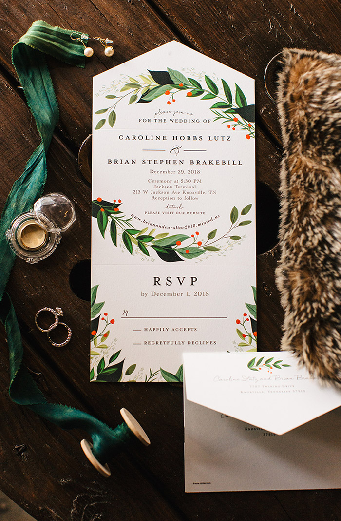 all in one red and greenery christmas wedding invitation suite