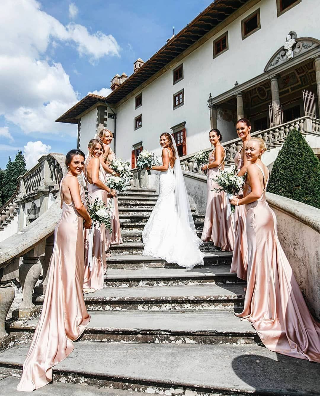 blush satin bridesmaid dresses with low back detail