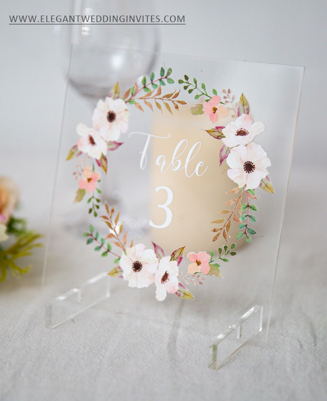 bush floral spring and summer wedding table cards