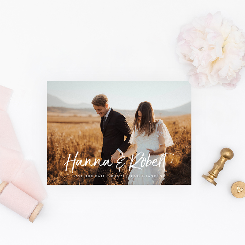 chic save the date cards with photo EWSTD073