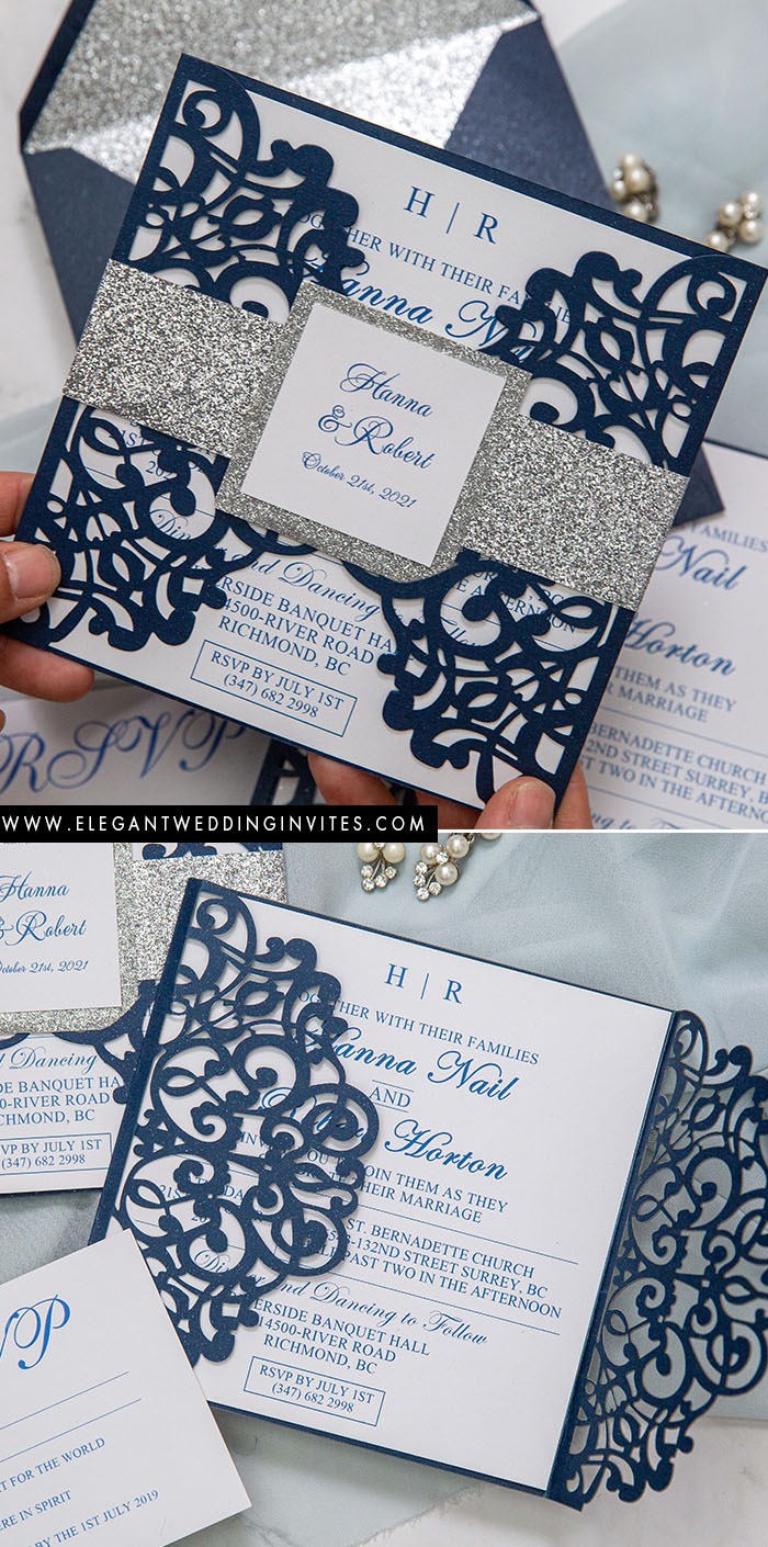 classic blue and silver circut wedding invitation suite