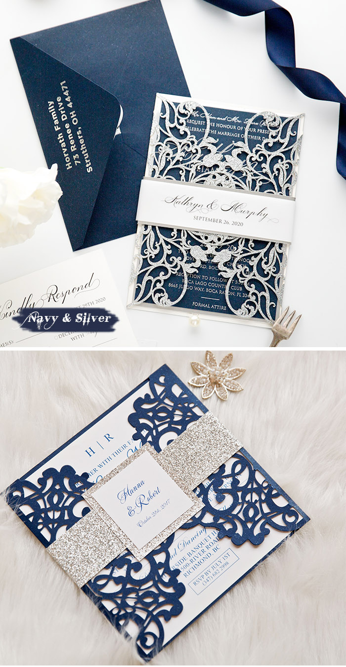 classic navy and silver wedding invitations