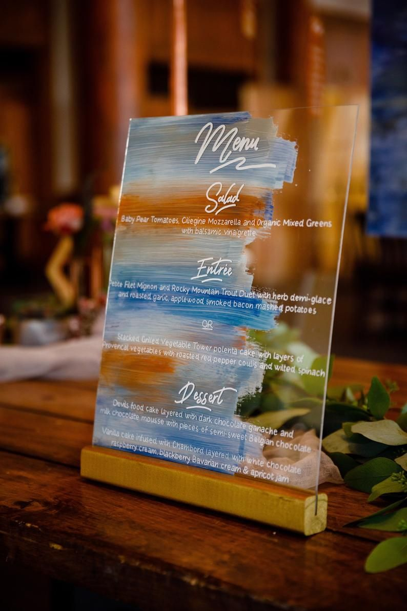 colorful hand painted acrylic menu card ideas