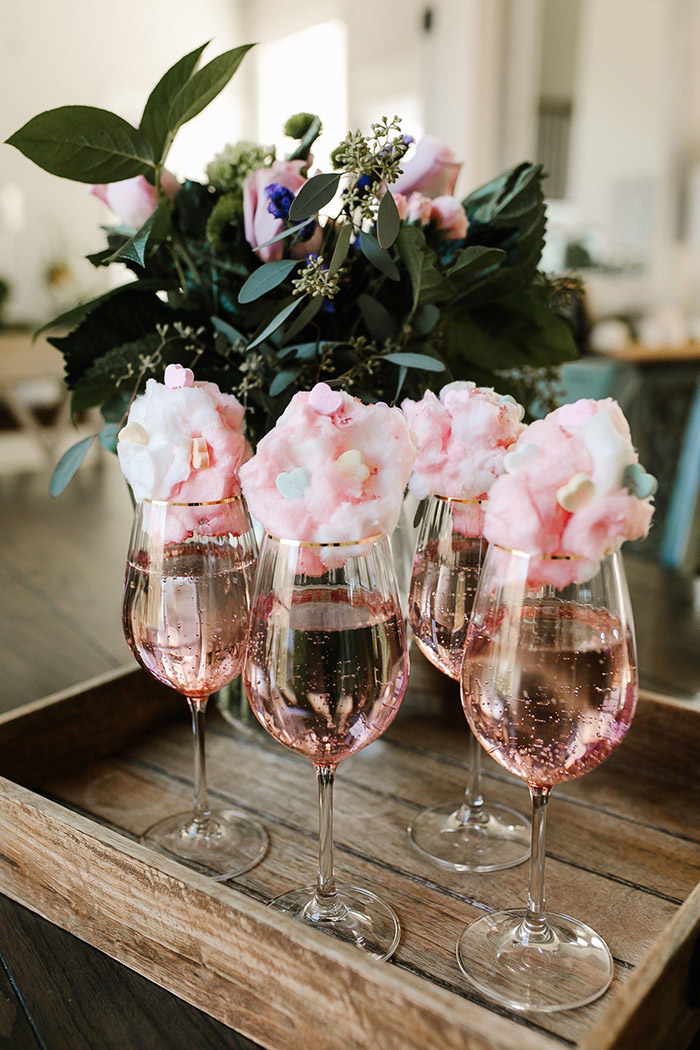 cute blush cotton candy decorated wedding party drinks