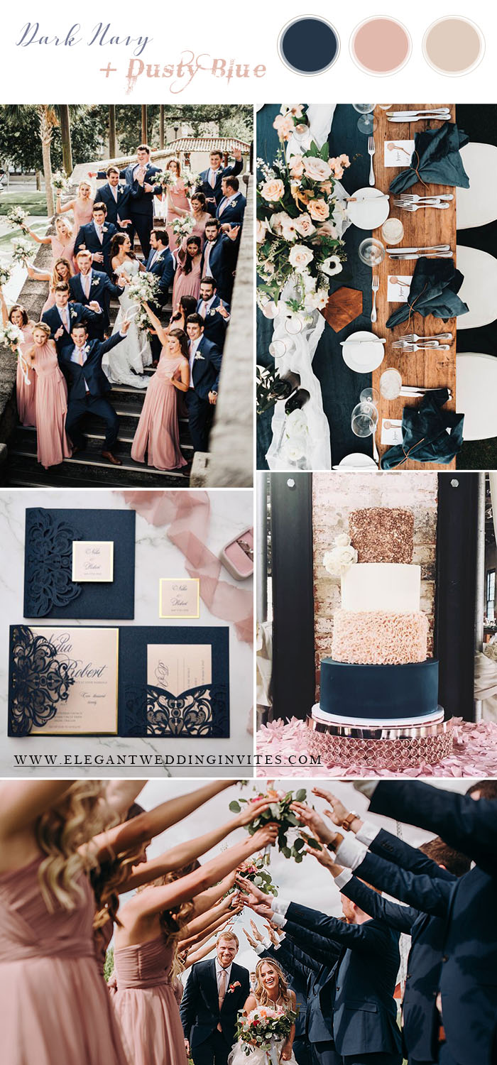 dark navy and dusty rose wedding color theme for all seasons
